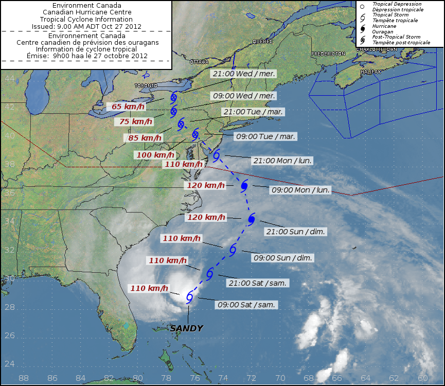 Hurricane Sandy's forecasted path is tracked in this graphic from the Canadian Hurricane Centre, Saturday, Oct. 27, 2012.