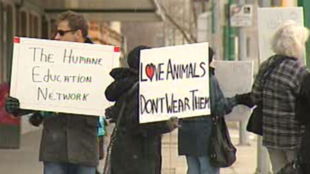 Members of the Humane Education Network protested the sale of fur at the downtown Bay location in Winnipeg.