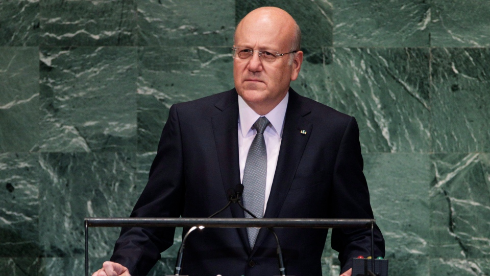 Lebanese Prime Minister Najib Mikati addresses the 67th session of the United Nations General Assembly at U.N. headquarters Thursday, Sept. 27, 2012. (AP / Frank Franklin II)