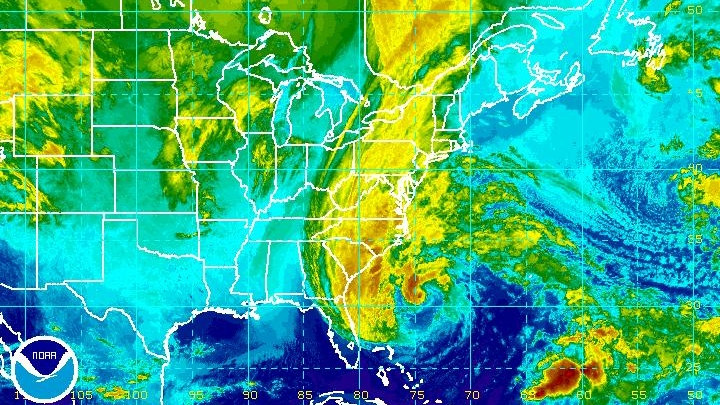 Hurricane Sandy is shown in this enhanced NOAA satellite image taken at 9:15 p.m. ET on Saturday, Oct. 27, 2012. (NOAA)