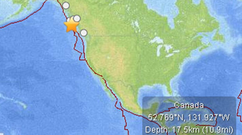 Location and Magnitude of earthquake off Vancouver Island, Saturday Oct. 27 (U.S. Geological Survey)