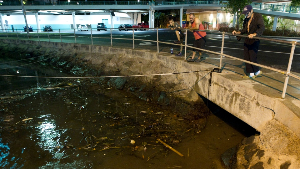 Visitors and Oahu residents watch the ocean water surge in and out of the Ala Wai Harbour carrying various debris during a tsunami in Honolulu on Saturday, Oct. 27, 2012.  (AP / Eugene Tanner)