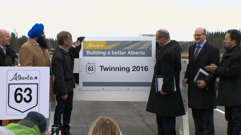The province announced in October that the twinning of Highway 63 would be completed by the fall of 2016.