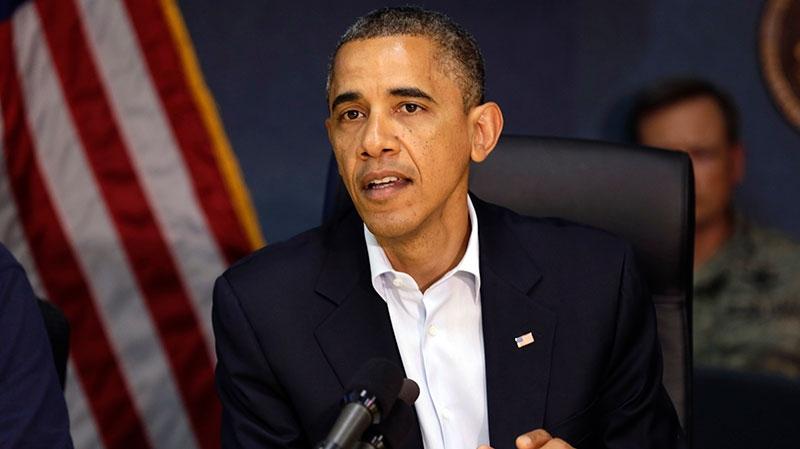 President Barack Obama speaks at Federal Emergency Management Agency headquarters in Washington, on Sunday, Oct. 28, 2012. (AP / Jacquelyn Martin)
