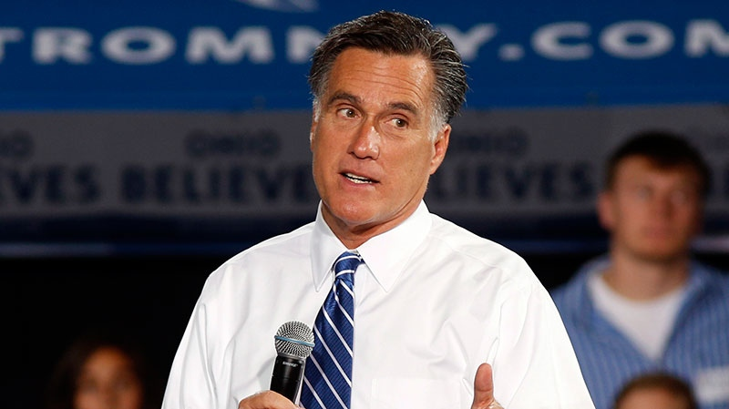 Republican presidential candidate former Massachusetts Gov. Mitt Romney speaks during a campaign event at the Celina High School gymnasium in Celina, Ohio, Sunday, Oct. 28, 2012. (AP / David Kohl)
