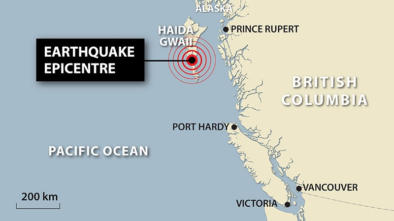 Map locates a violent earthquake measuring 7.7 which jolted British Columbia's north-central coast Saturday night, Oct. 27, 2012. (Sean Vokey / THE CANADIAN PRESS)
