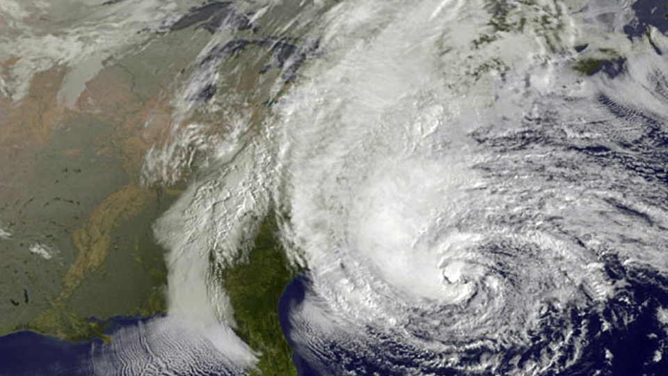This NOAA satellite image shows Hurricane Sandy off the Mid Atlantic coastline moving toward the north, taken Sunday, Oct. 28, 2012 . (AP / Weather Underground)