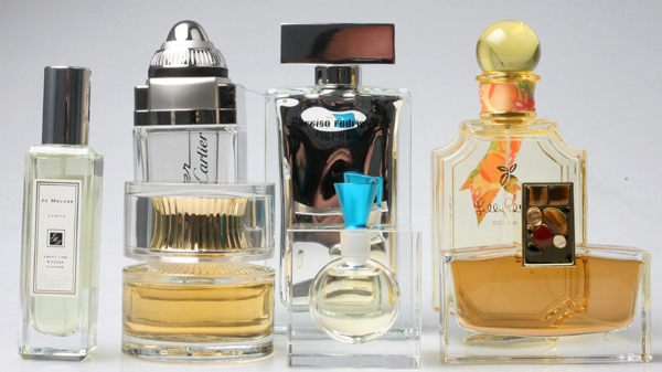 Bottles of perfume and cologne are shown Wednesday, Oct. 15, 2008 in New York. (AP Photo/Mark Lennihan)