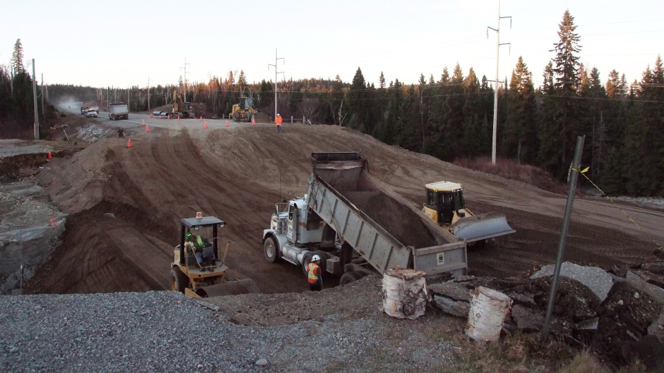Work continues on the highway in Wawa, Ont. after this week's wash-out on Sunday Oct. 28, 2012. (Wawa News / Brenda Grundt)