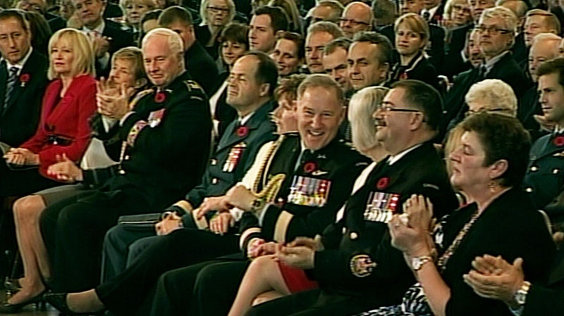 Gen. Walt Natynczyk smiles at the change of command ceremony in Ottawa Monday, Oct. 29, 2012.