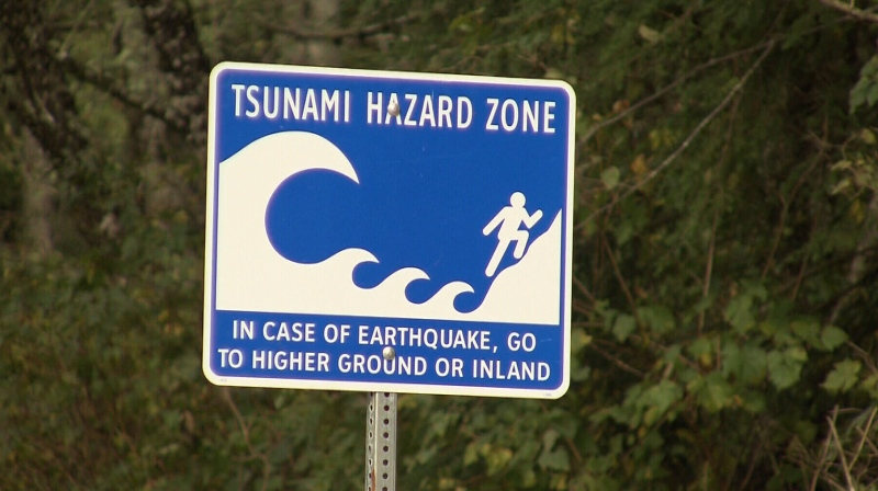 A tsunami hazard sign is seen in Tofino, B.C., in this undated file photo.
