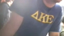 A video still shows what is believed to be the start of the January 2010 initiation at the U of A's Delta Kappa Epsilon fraternity.