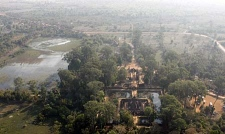 An aerial view over Banteay Srey temple, one of the many stone monuments built during the Angkorian period, in Siem Reap province, Cambodia, on Wednesday Jan. 23, 2008. (AP Photo/Heng Sinith)