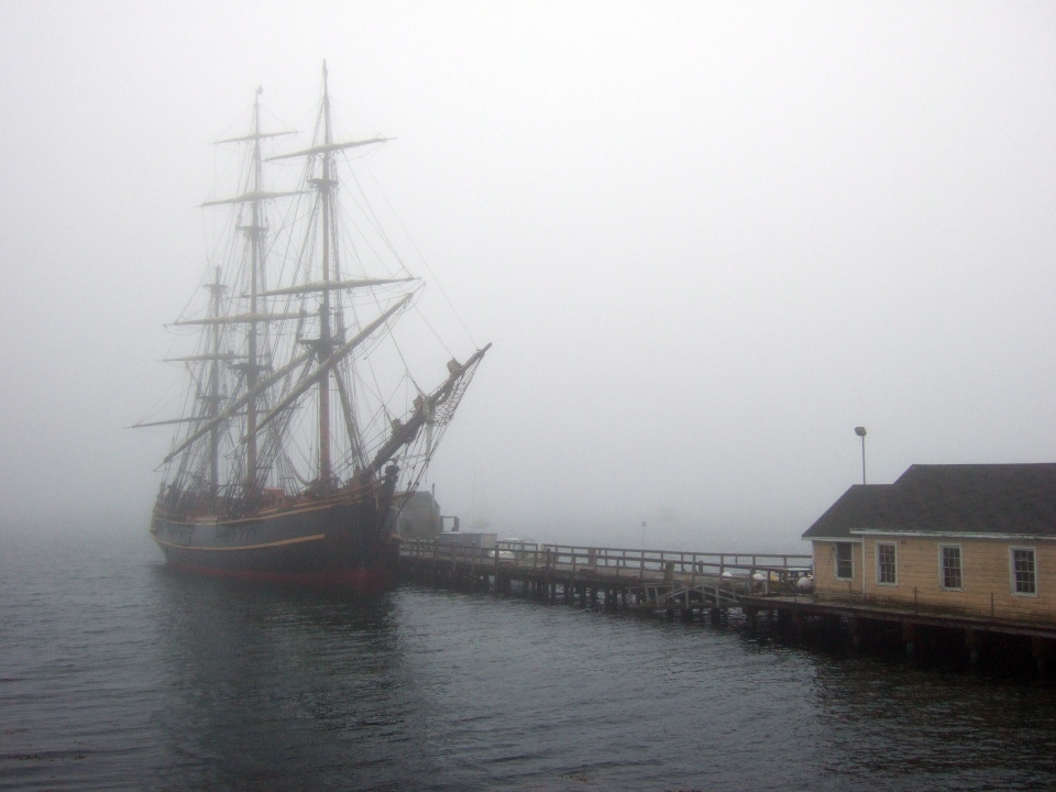 The Canadian-built tall ship replica HMS Bounty is shown at dock in Boothbay Harbour, Maine, on Saturday, Oct. 20, 2012. (Tammy Hoy / THE CANADIAN PRESS)