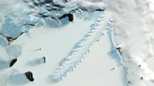 Satellite view of Erebus Glacier Tongue, Antarctica (NASA/GSFC/METI/ERSDAC/JAROS, and U.S./Japan ASTER Science Team)