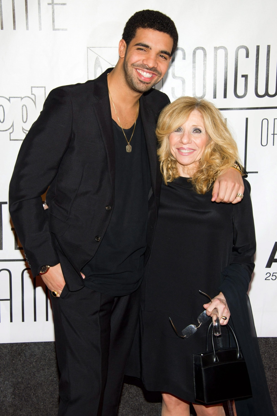 Drake and his mother Sandi Graham arrive at the 42nd Annual Songwriters Hall of Fame Awards in New York, Thursday, June 16, 2011. (AP / Charles Sykes)