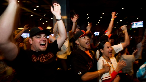 Fans watch World Series on television