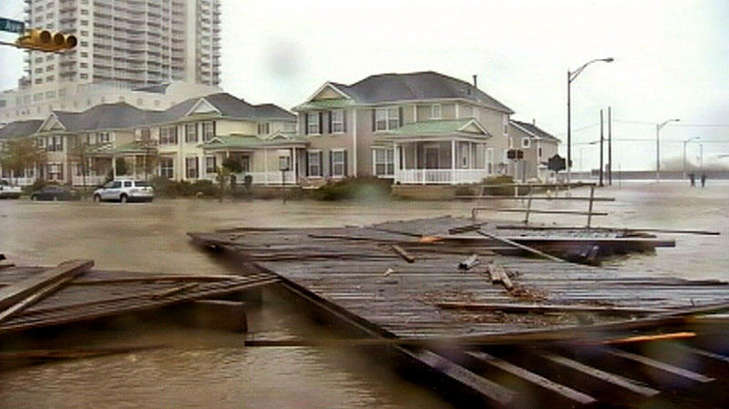 Devastating flood damage from Sandy is seen in Atlantic City, Monday, Oct. 29, 2012.