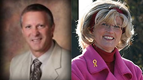 Incumbent Dave Burgess, left, and challenger Shari Decter Hirst, right, are neck-and-neck in the Brandon mayoral race.