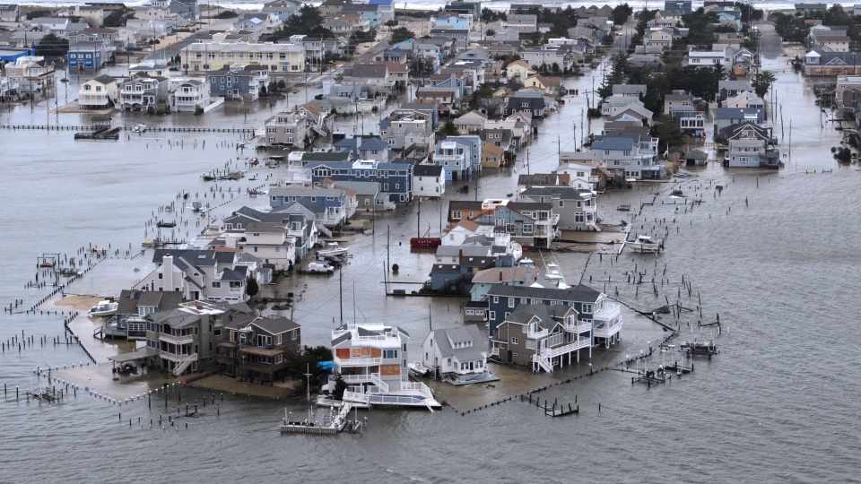 A Portion of Harvey Cedars on Long Beach Island, New Jersey is underwater Tuesday, Oct. 30, 2012, a day after Hurricane Sandy blew across the New Jersey barrier islands. (The Philadelphia Inquirer / Clem Murray)