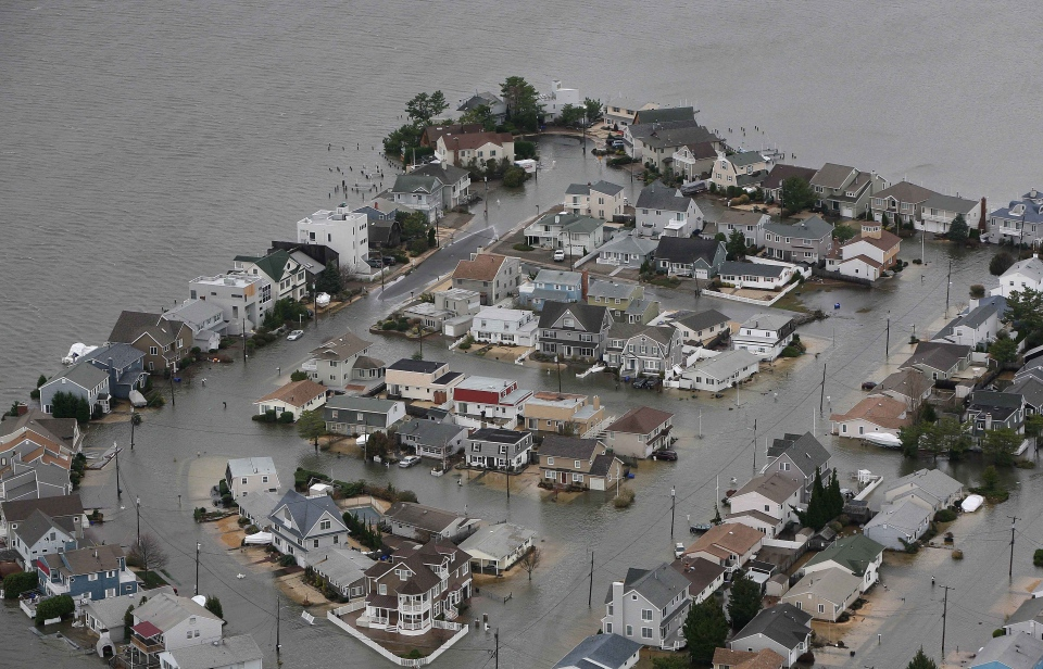 Flooding on the bay side of Seaside, N.J. after superstorm Sandy made landfall in New Jersey, Tuesday, Oct. 30, 2012 . (New Jersey Governor's Office / Tim Larsen)