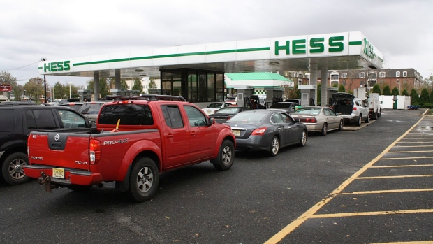Cars line up for fuel in North Woodbridge, N.J.
