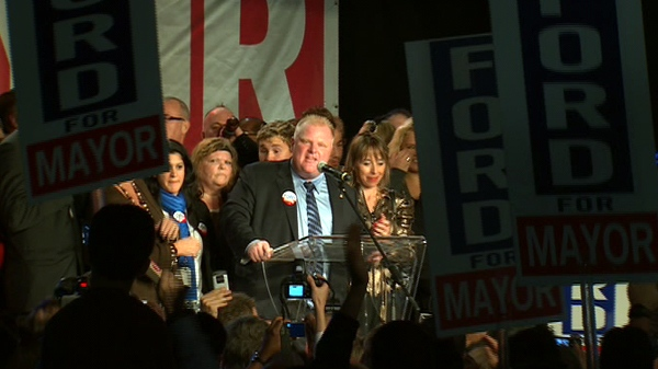 Rob Ford gives his victory speech at the Toronto Congress Centre in Etobicoke following his win as mayor of Toronto, Monday, Oct. 25. 2010.