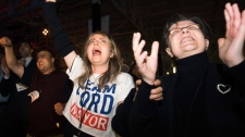 People react as they celebrate Rob Ford's win for mayor of Toronto on Monday, Oct. 25, 2010. (Nathan Denette / THE CANADIAN PRESS)