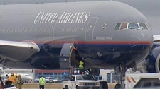 The plane landed safely in Winnipeg on Monday afternoon.
