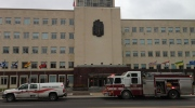 Crews respond to a fire at the Great-West Life building on Osborne Street North in Winnipeg on Oct. 31, 2012.