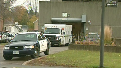 The vehicle carrying Sean Butler is seen outside the court house in Kitchener on Monday, Oct. 25, 2010.