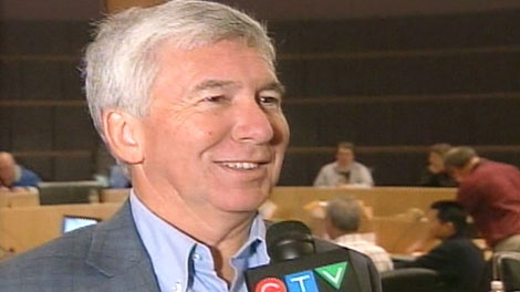Incumbent Carl Zehr speaks with CTV News after being re-elected as Kitchener mayor on Monday, Oct. 2, 2010.