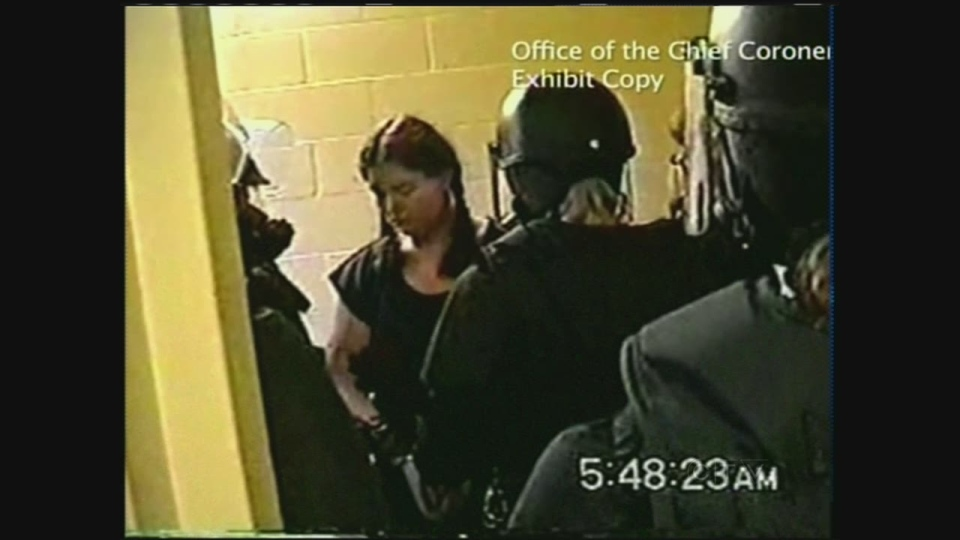 Ashley Smith is seen in one of the videos recorded by prison employees.