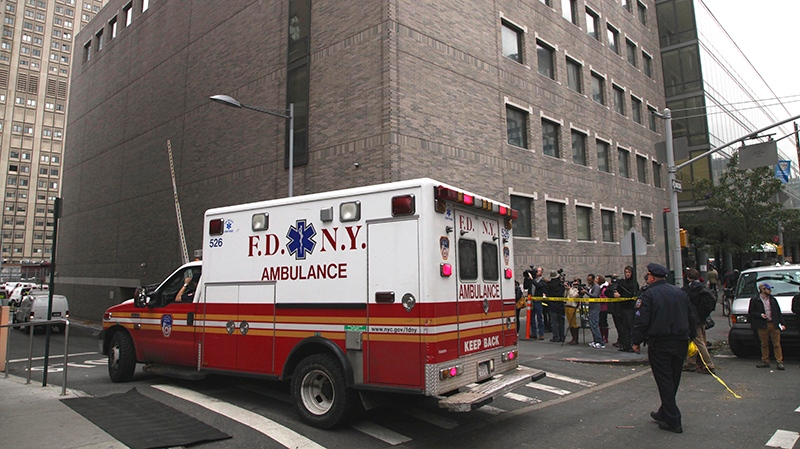 An ambulance departs Bellevue Hospital in New York where patients were being evacuated, on Wednesday, Oct. 31, 2012. (AP / Mark Lennihan)