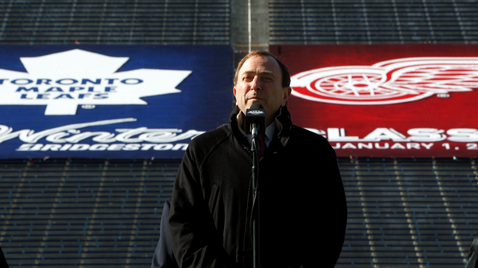National Hockey Leauge commissioner Gary Bettman announces the NHL Winter Classic hockey game at Michigan Stadium in Ann Arbor, Thursday, Feb. 9, 2012. (AP Photo/Paul Sancya)