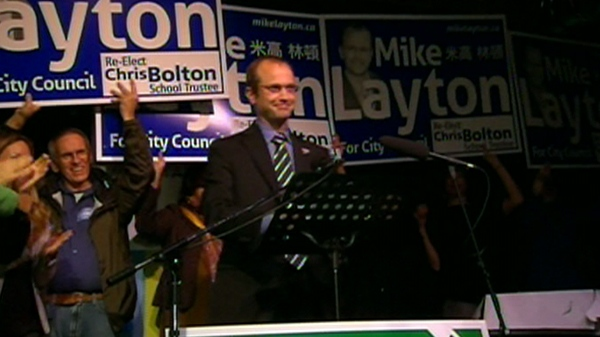 Mike Layton, son of federal NDP leader Jack Layton, celebrates after his win in the Toronto riding of Trinity Spadina, Monday, Oct. 25, 2010