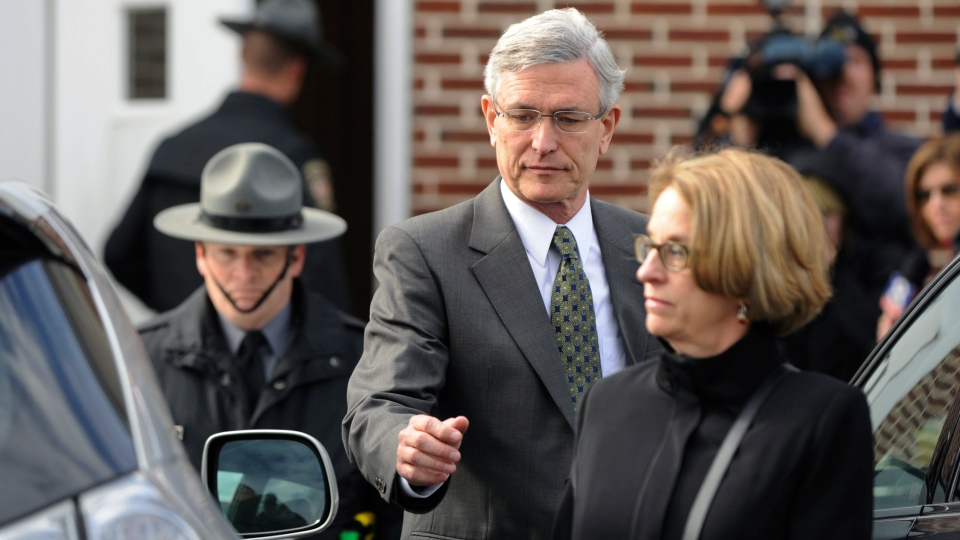 Tim Curley exits District Court following his arraignment in Harrisburg, Pa., Friday, Nov. 2, 2012. (AP / Bradley C Bower)