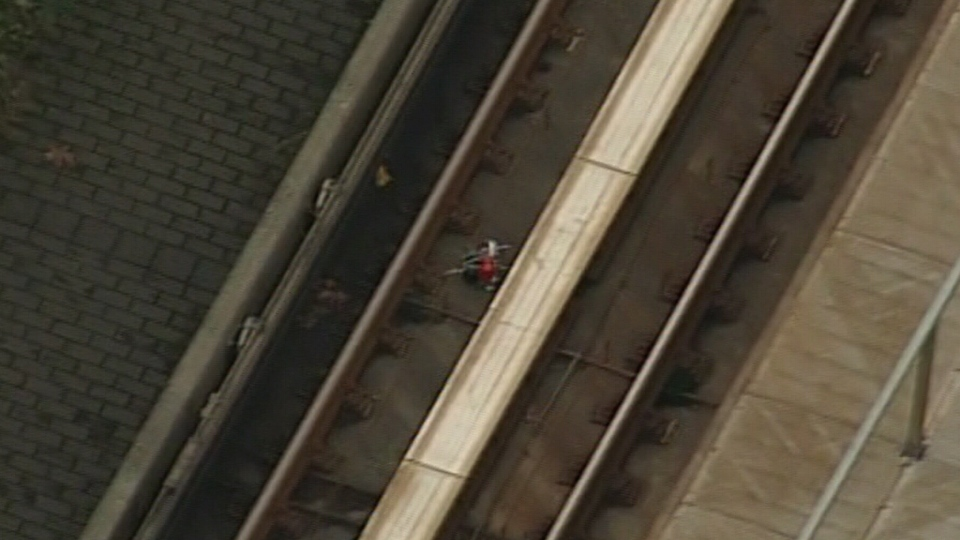 A suspicious device is shown on the Vancouver SkyTrain tracks on Friday, Nov. 2, 2012.