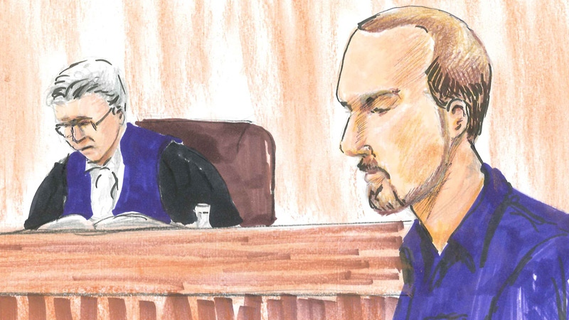 Jason Bruce Cardinal is shown in a sketch from a court appearance.