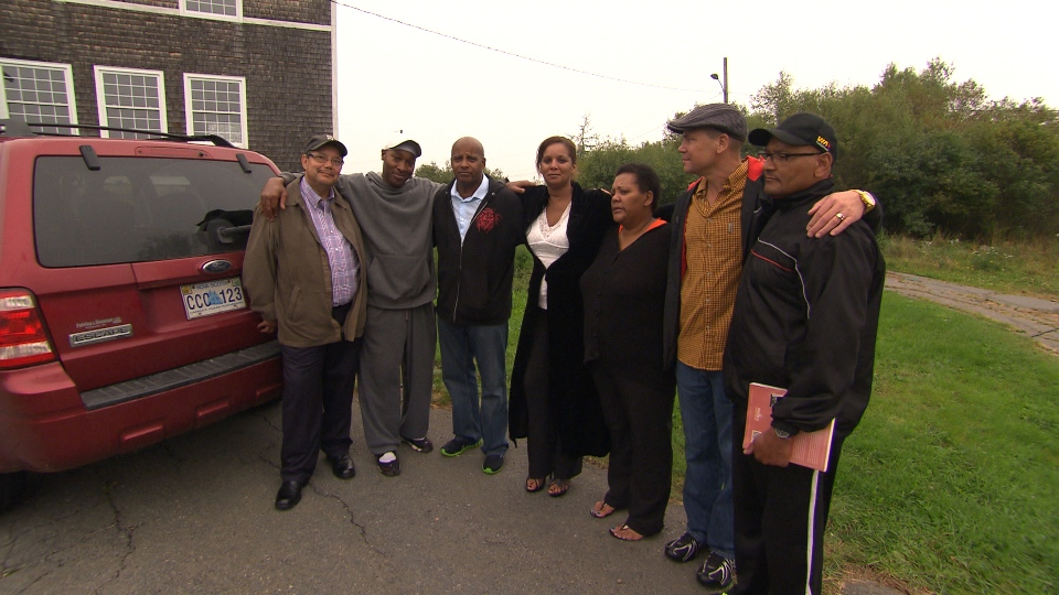 Former residents of the Nova Scotia Home for Colored Children, from left, Gerry Morrison, Stacey Beals, Robert Borden, Harriet Johnson, Tracey Dorrington, Tony Smith, Paul Carvery.