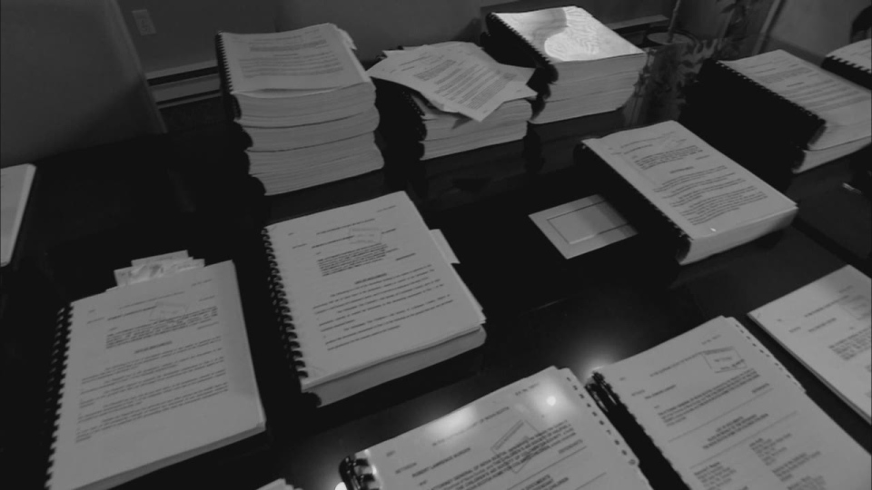 Documents related to the proposed class action lawsuit against the Nova Scotia Home for Colored Children are shown at the law offices of Raymond F. Wagner in Halifax.