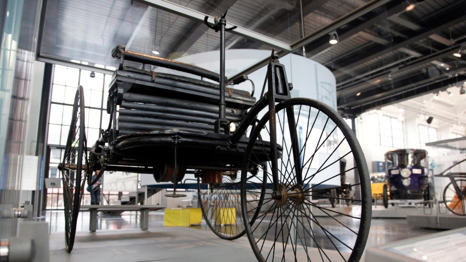 The 1886 Benz Patent Motor Car, designed by German car maker Karl Benz, is on display in the German Museum's Transportation Center in Munich, Germany, Jan. 7, 2011. (AP / dapd, Sebastian Widmann)
