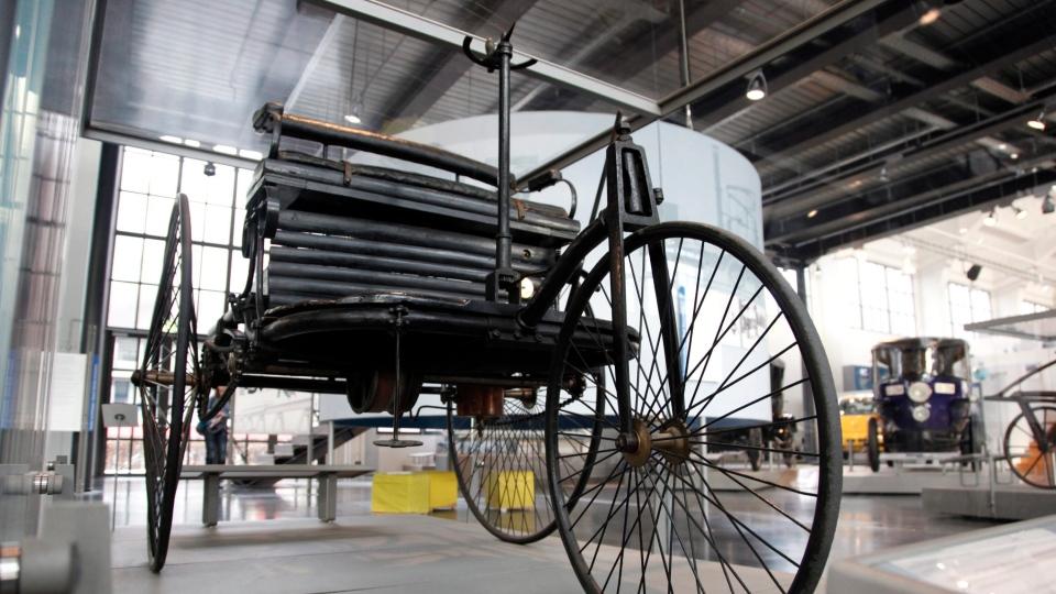 The 1886 Benz Patent Motor Car, designed by German car maker Karl Benz, is on display in the German Museum's Transportation Center in Munich, Germany, Jan. 7, 2011. (AP / dapd, Sebastian Widmann)