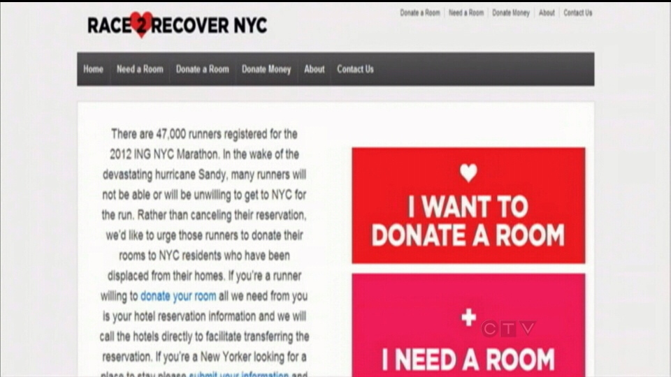 A website has been set up specifically for would-be N.Y. Marathon runners to donate to Sandy victims.