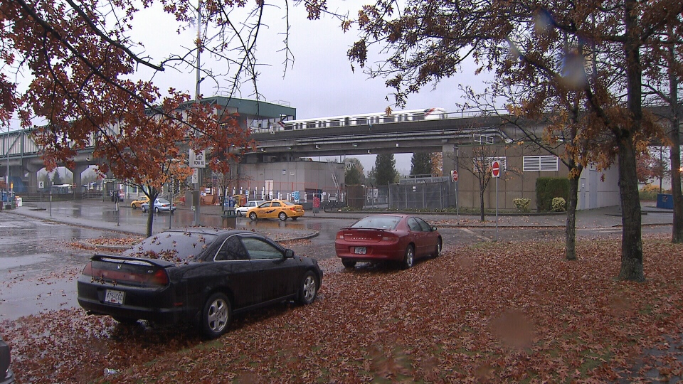 Police are considering the theory that a pipe bomb thrown onto Vancouver's SkyTrain tracks may have been thrown from the street below, shown here in this image from video on Saturday, Nov.3, 2012..