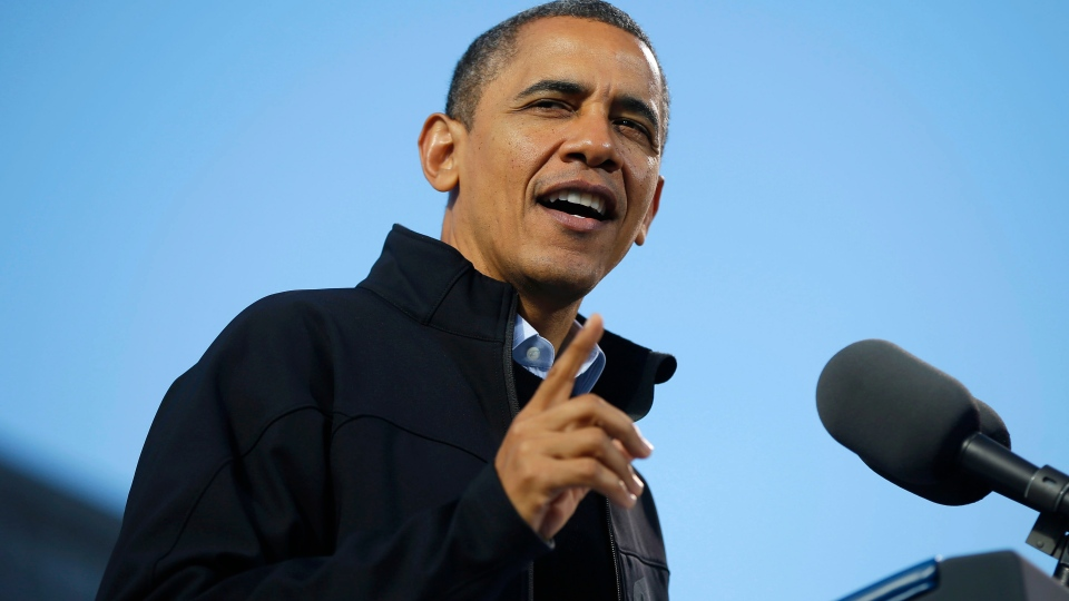 U.S. President Barack Obama speaks during a campaign event at Capitol Square, in Concord, N.H., Sunday, Nov. 4, 2012. (AP / Pablo Martinez Monsivais)