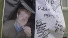 A Coquitlam memorial to Robert Staines, who was killed in a hit-and-run crash, is shown in this file image. (CTV)