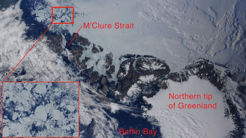 Satellite imagery shows sea ice in the McClure Strait in the Arctic Circle, the route followed by a crew of three sailors led by a Montreal man. The group achieved the most northern crossing ever recorded in a sailboat, of the Northwest Passage.