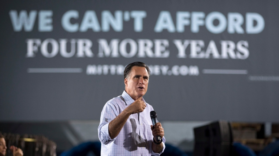 Republican presidential candidate, former Massachusetts Gov. Mitt Romney, campaigns at American Spring Wire in Bedford Heights, Ohio, Sept. 26, 2012 .  (AP / Evan Vucci)
