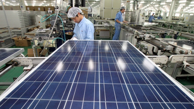 Chinese solar panel factory on Nov. 18, 2011.